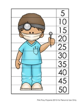 Dental Health Number Counting Puzzles - Skip by 5