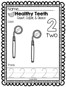 Dental Health Numbers 1-10:  Count, Color, & Trace