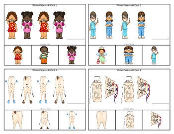 Dental Health Patterns Task Clip Cards FREEBIE