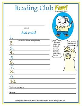 Dental Health Reading Log & Certificate Set