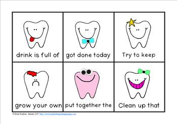 Dental Health Sight Word Fluency Phrases Race