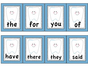 Dental Health Sight words-write the room