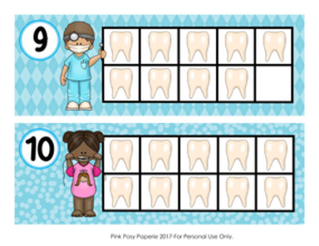 Dental Health Ten Frame Cards