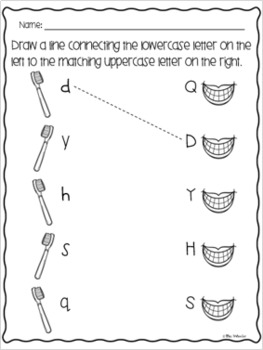 Dental Health Uppercase and Lowercase Letter Match