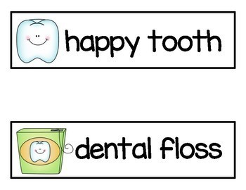 Dental Health Vocabulary Cards and Ten Frames