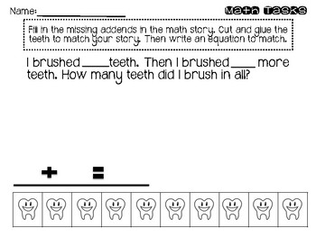 Dental Health Week Math Tasks