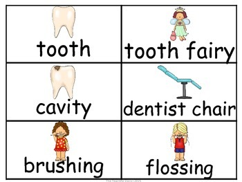 Dental Health Word Wall Cards & Personal Word Wall