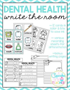 Dental Health Write the Room (Bonus Writing Pages)