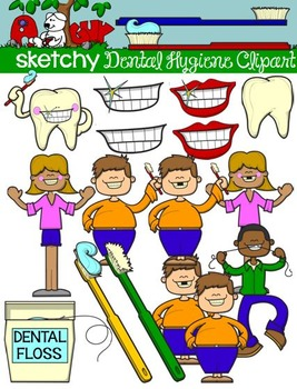 Dental Hygiene Kids and Items Clipart / Graphics