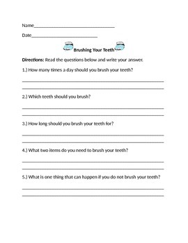 Dental Hygiene Worksheets