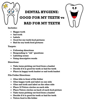 Dental Hygiene: happy tooth VS sad tooth