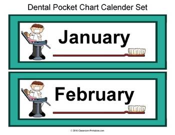 Dental Themed Pocket Chart Calender