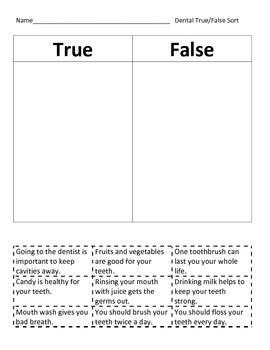 Dental True/False Sort