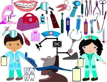 Dentist Clip Art cavities toothbrush dental stomatologist medic doctor -032-