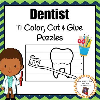 Dentist Color, Cut & Glue Puzzles