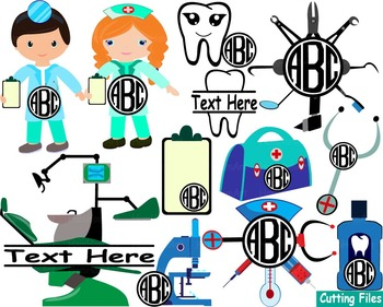 Dentist Doctor Nurse dental Clip art SVG Cutting files sup