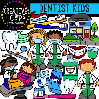 Dentist Kids {Creative Clips Digital Clipart}