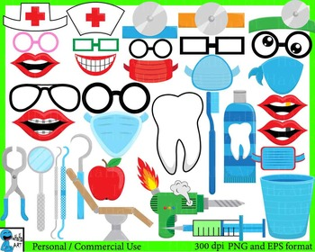 Dentist Props - Digital Clip Art Personal, Commercial Use