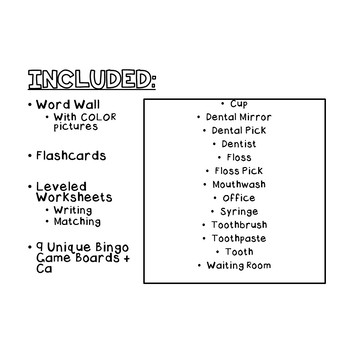 Dentist VOCABULARY UNIT (SPED/Autism/Elementary)