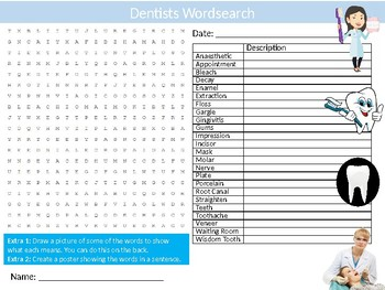 Dentist Wordsearch Sheet Starter Activity Keywords Dentistry Career Oral Health
