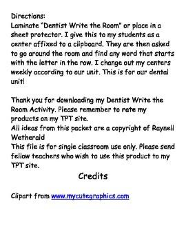 Dentist Write the Room