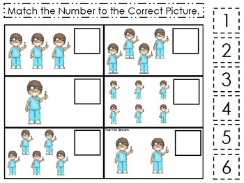 Dentist themed Match the Number Game. Printable Preschool Game