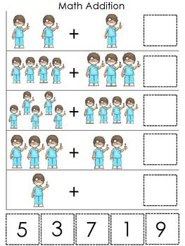 Dentist themed Math Addition Game. Printable Preschool Game