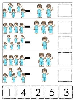Dentist themed Math Subtraction Game. Printable Preschool Game