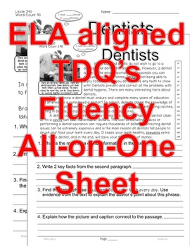 Careers: Dentists FACTS Close Read 5 level passages Informational Text +Freebie!