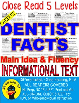 Careers: Dentists FACTS Close Read 5 level passages Inform