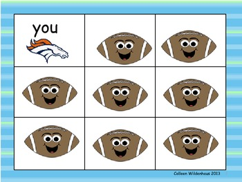 Denver Bronco Football Sight Word Game