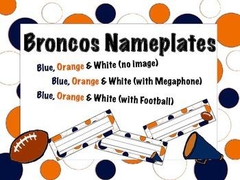 Denver Broncos Themed Nameplates/Classroom Labels
