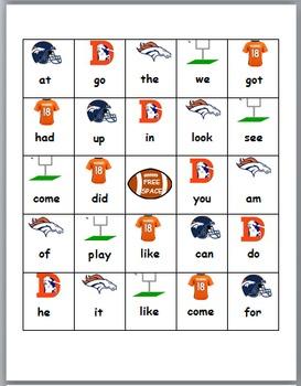 Denver Broncos BINGO sight word game