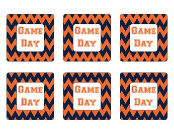 Denver Broncos Inspired Blue and Orange Chevron Calendar Pieces-Editable
