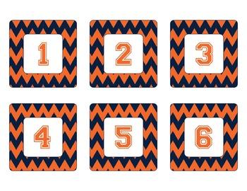 Denver Broncos Inspired Blue and Orange Chevron Calendar P