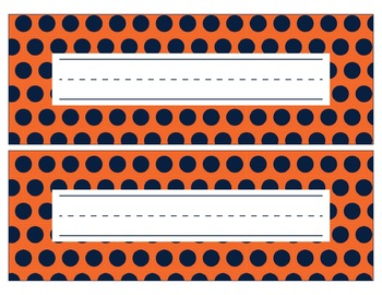 Denver Broncos Inspired Navy and Orange Editable Name Plates/Word Wall