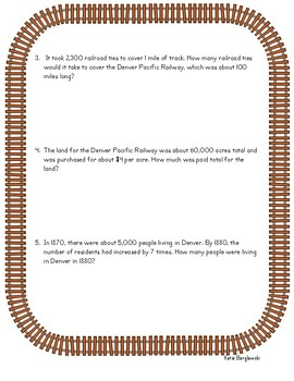 Denver Pacific Railway Math Worksheet