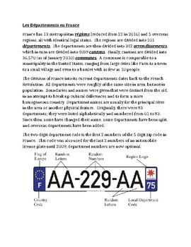 Départements en France French reference sheet