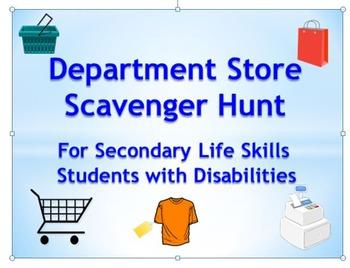Department Store Scavenger Hunt for Secondary Life Skills