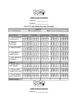 Departmentalized Behavior Chart