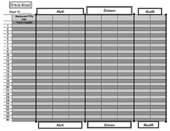 Departmentalized Grade Sheet