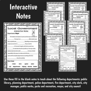 Departments of Local Government Flip Flap Book and Interactive Notes