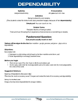 Dependability Character Lesson Plan