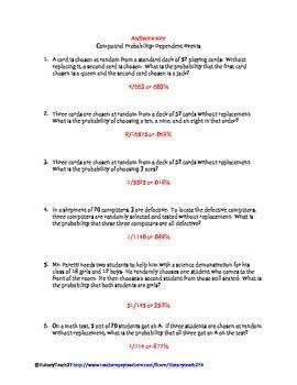 Dependent Probability Worksheets