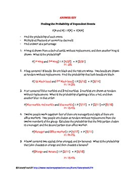 Dependent Probability Worksheets