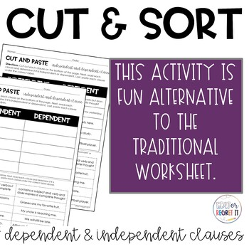Dependent and Independent Clause Cut and Paste Sorting Activity