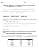 Dependent and Independent Clauses Handout and Worksheet