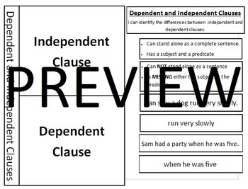 Dependent and Independent Clauses Interactive Journal