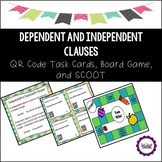 Dependent and Independent Clauses QR Task Cards, SCOOT, and Board Game