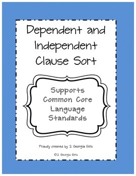 Dependent and Independent Clause Sort Printable